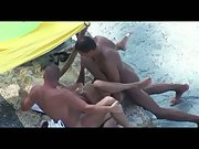 Beach 3some mfm filmed by a hidden cam naughty group sex in public