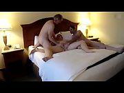 Boning her shaved cooter with a friend