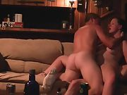Wifey dual penetration orgasm on couch